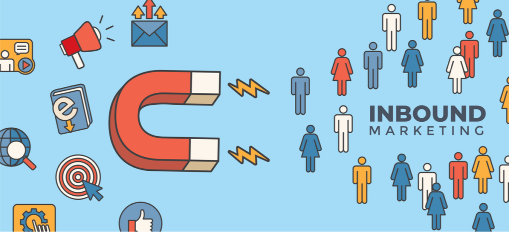 graphic of inbound marketing with a lead magnet attracting customers